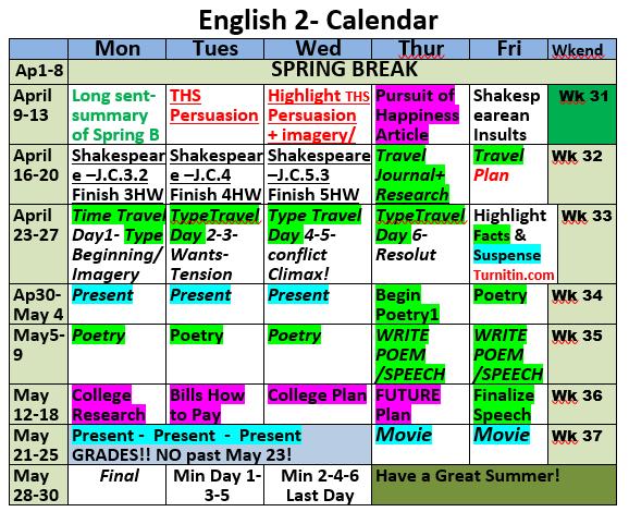 Eng 2 Triad 5-6 Calendar