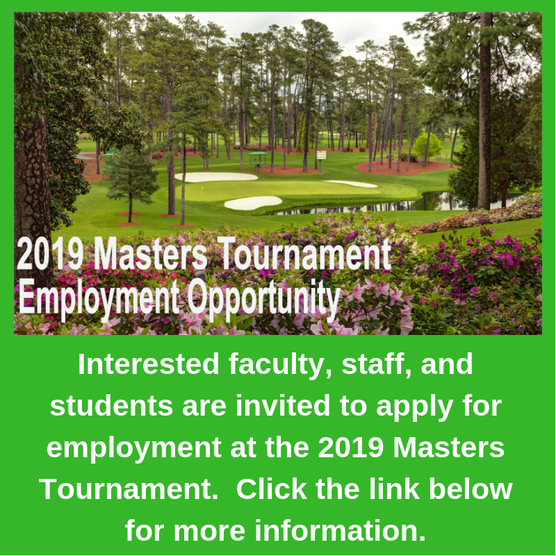 2019 Masters Tournament Employment Opportunity Featured Photo