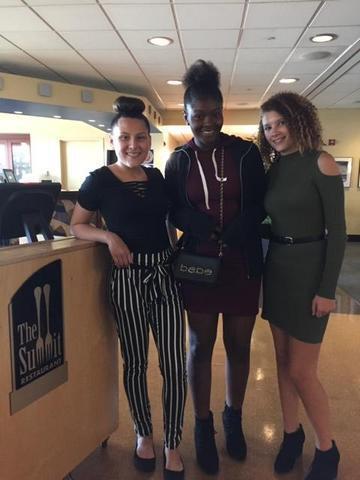 Yesenia Espinal-Medina (left), Tiffani Humpries, Hailey Rose (right) having lunch at the Cincinnati State restaurant The Summit