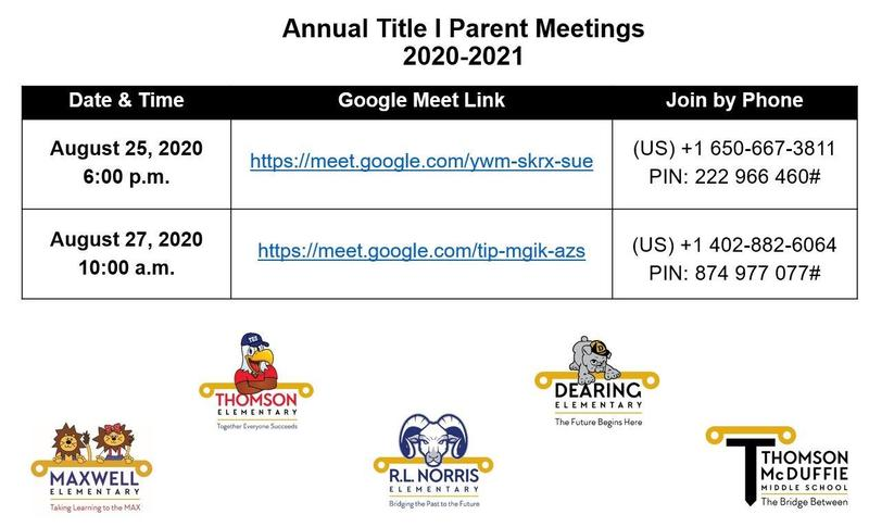 Title I Annual Parent Meeting Featured Photo