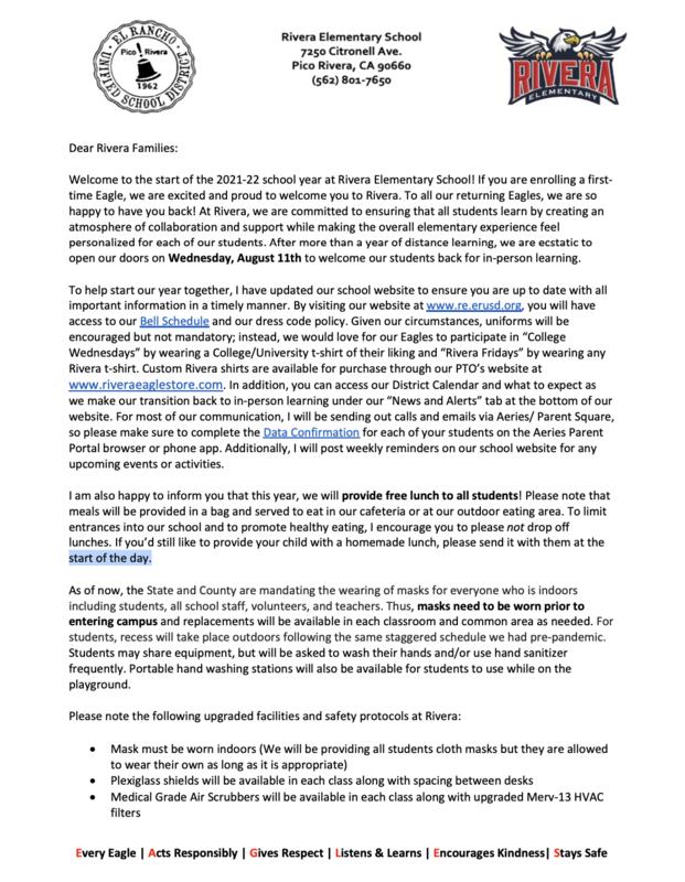 2021-22 Parent Letter