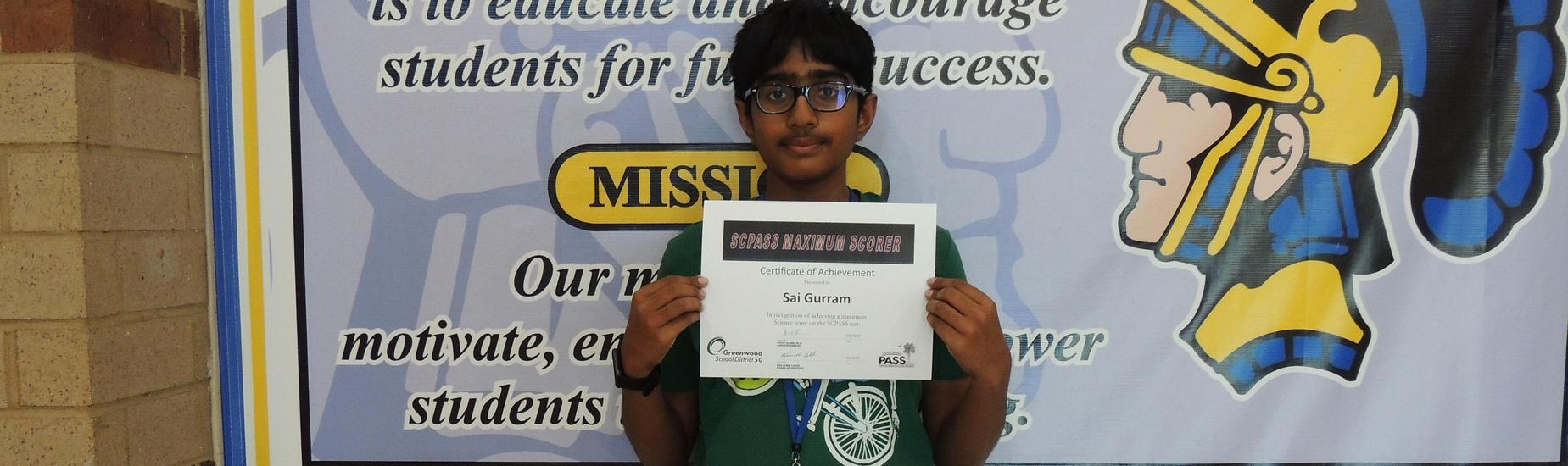 Sai Gurram SCPASS Perfect Scorer in Science