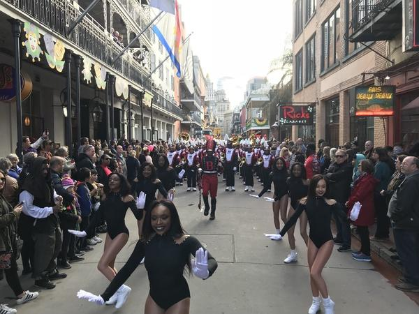 Photo of the Baker High School Band leading at the Krewe of Cork Parade in New Orleans