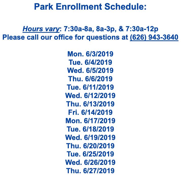 Park Enrollment Schedule Featured Photo