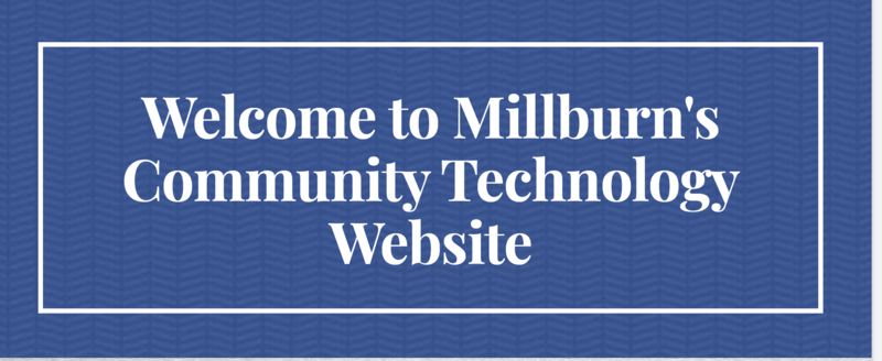Welcome to Millburn Community Technology Website text with blue background