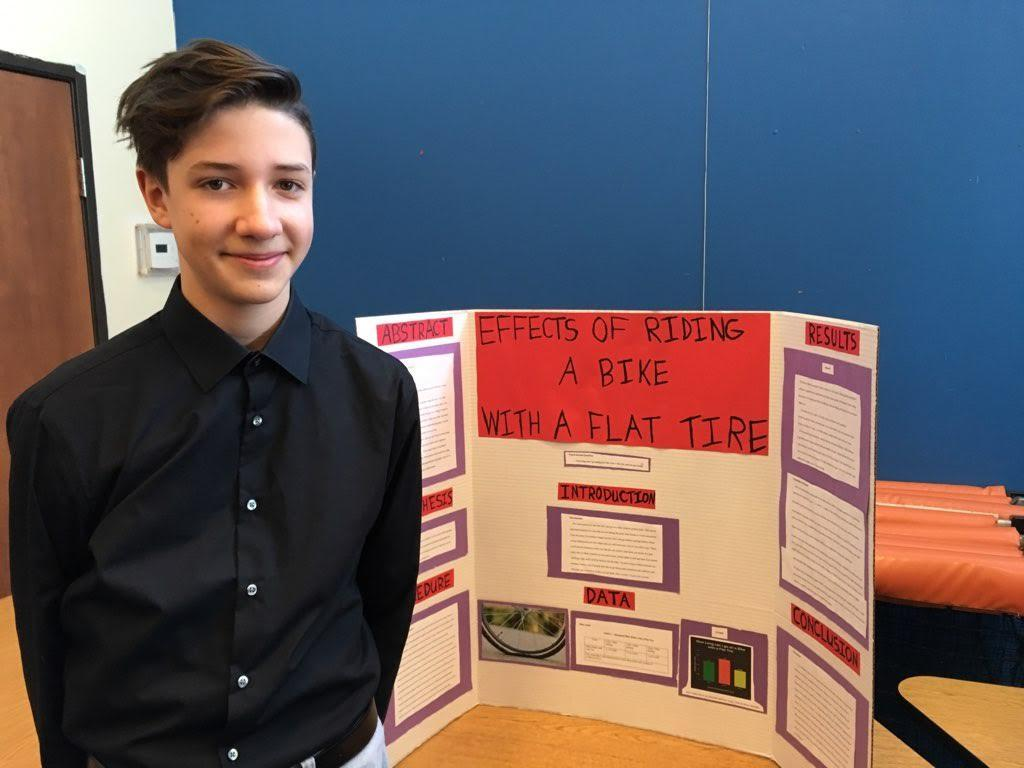 Seventh graders showcase their science fair projects.