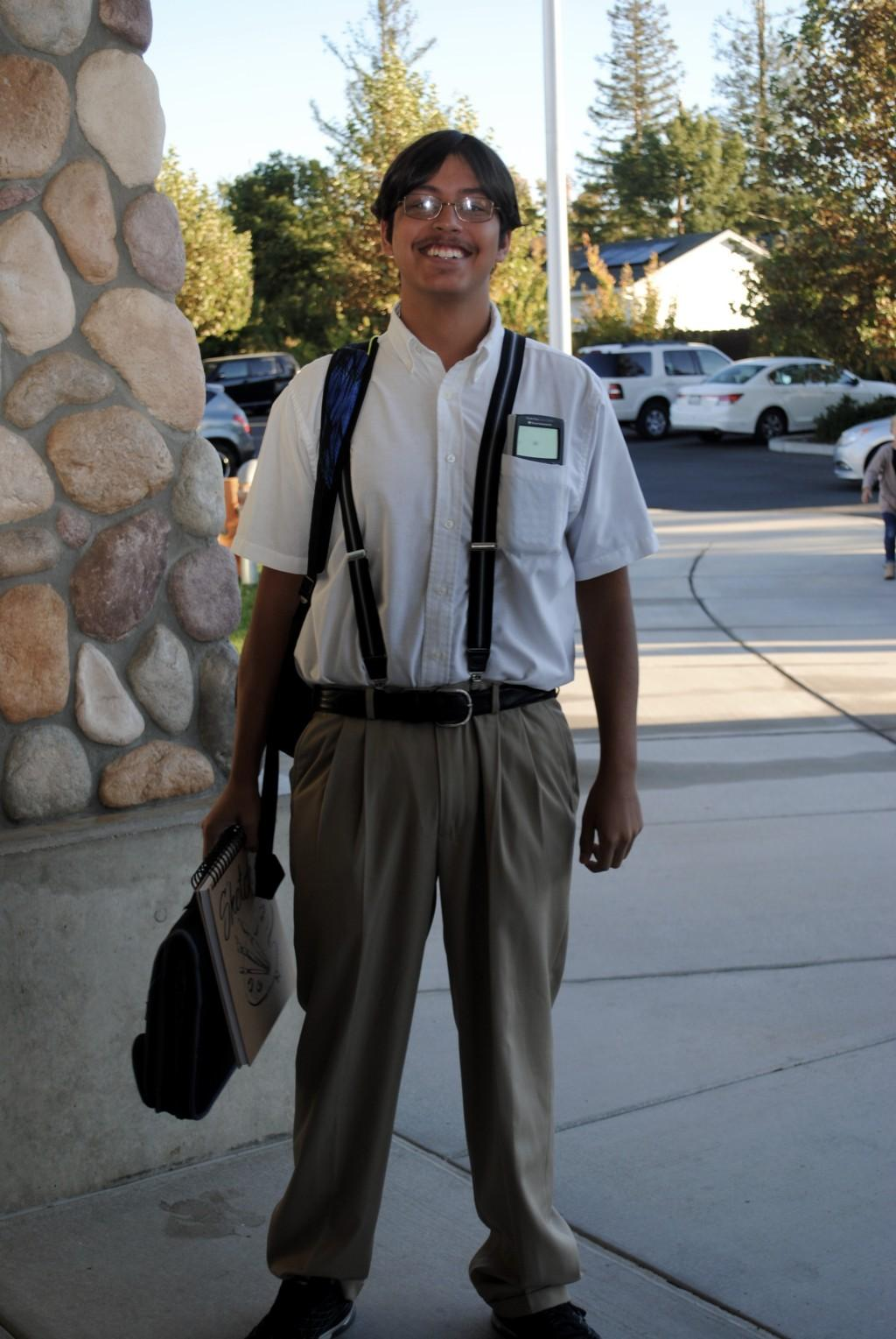 Student dressed up for nerd day.