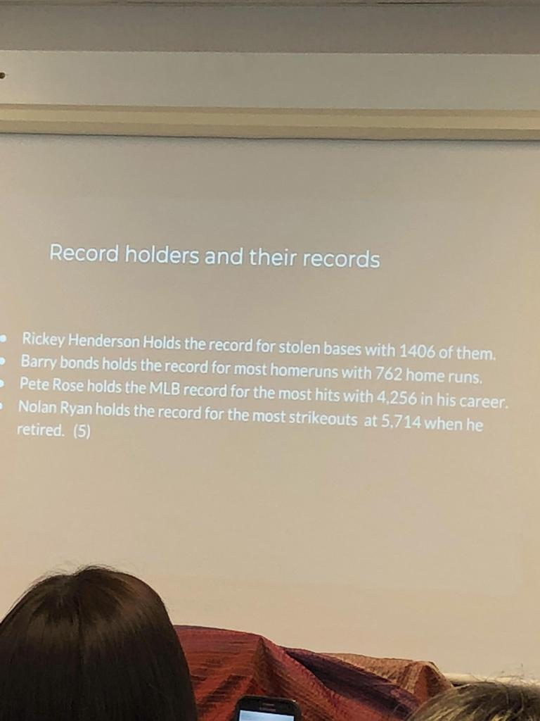 Student presenting on record holders.