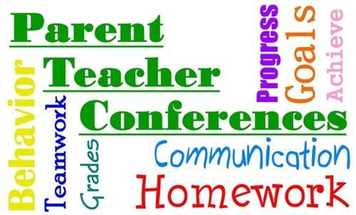 words in multiple colors: Parent Teacher Conferences, behavior, teamwork, grades, communication, homework, parents, teacher