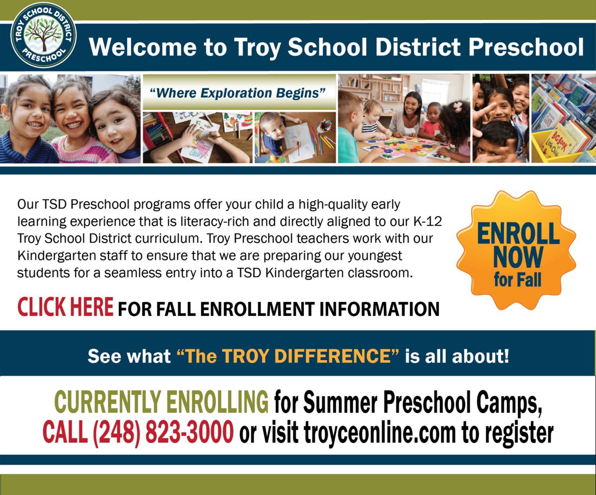 Troy Preschool Enrollment Infographic - call 248-823-3000
