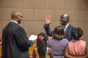 Earnest Winston swearing in as Superintendent