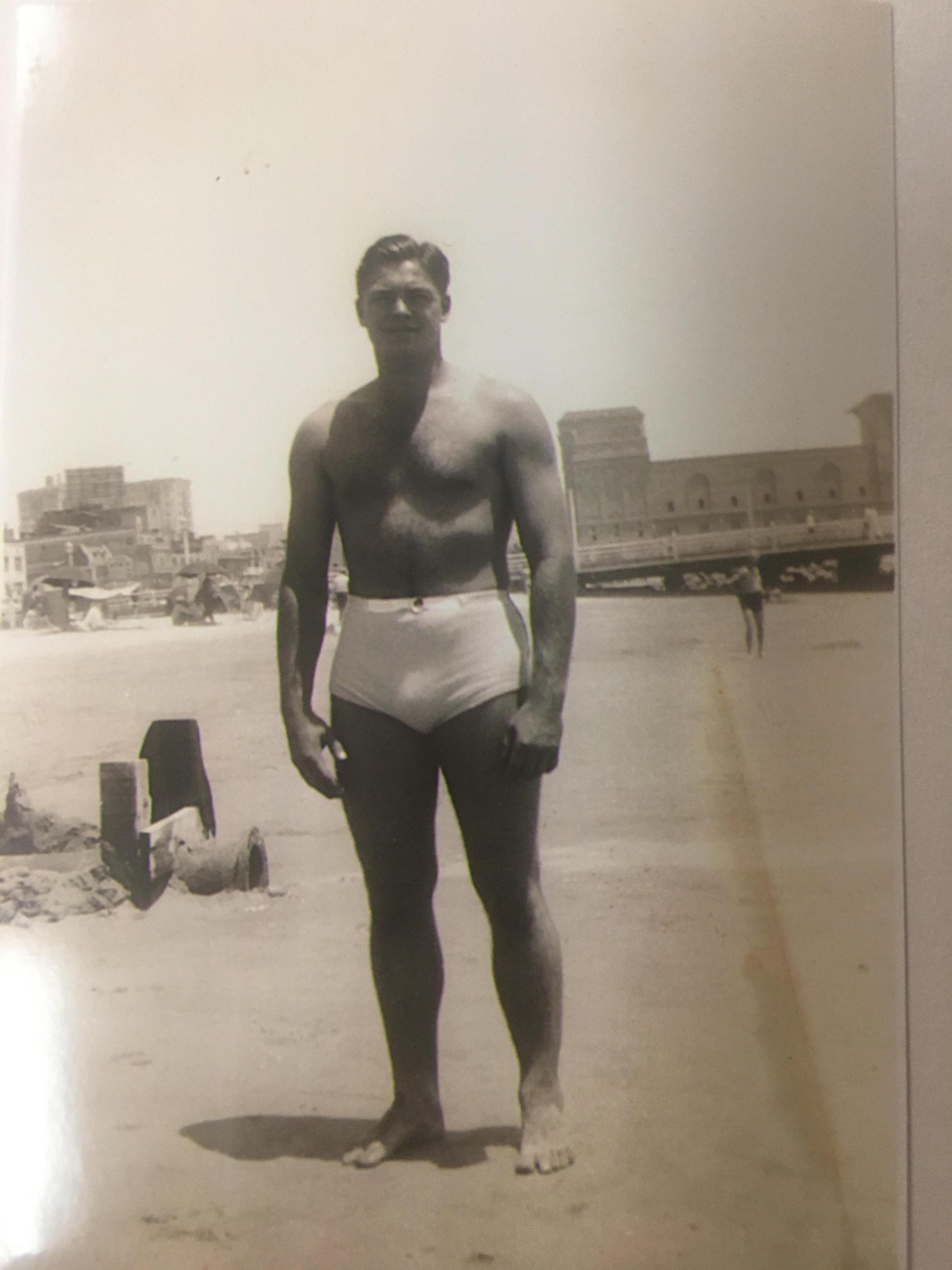 21 years old at Santa Monica Beach 1936 showing his All American physique