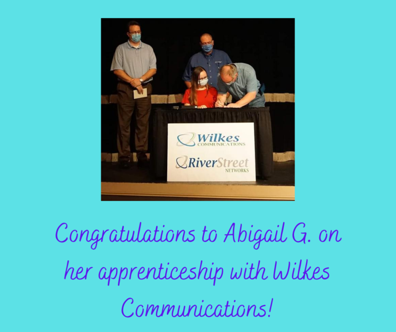 Abigail G. is 1 of only 4 Wilkes County students to be accepted for an apprenticeship. Abigail will be working with Wilkes Telecommunications. Way to lead the Pack!!