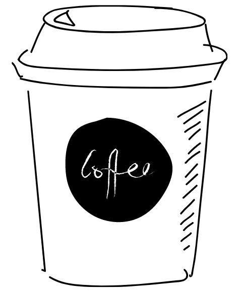 Black and white coffee to-go cup.