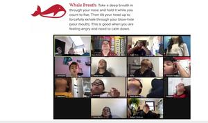 Zoom class practicing whale breath exercise