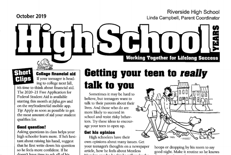 October Edition of RHS Parent Newsletter Featured Photo