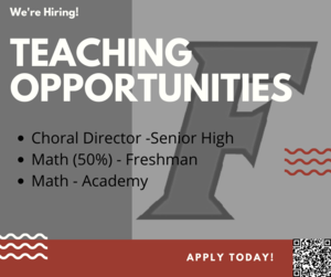 This is an image of teaching opportunities in our district - Music director at the high school, Academy Math teacher and Freshman School Math teacher.