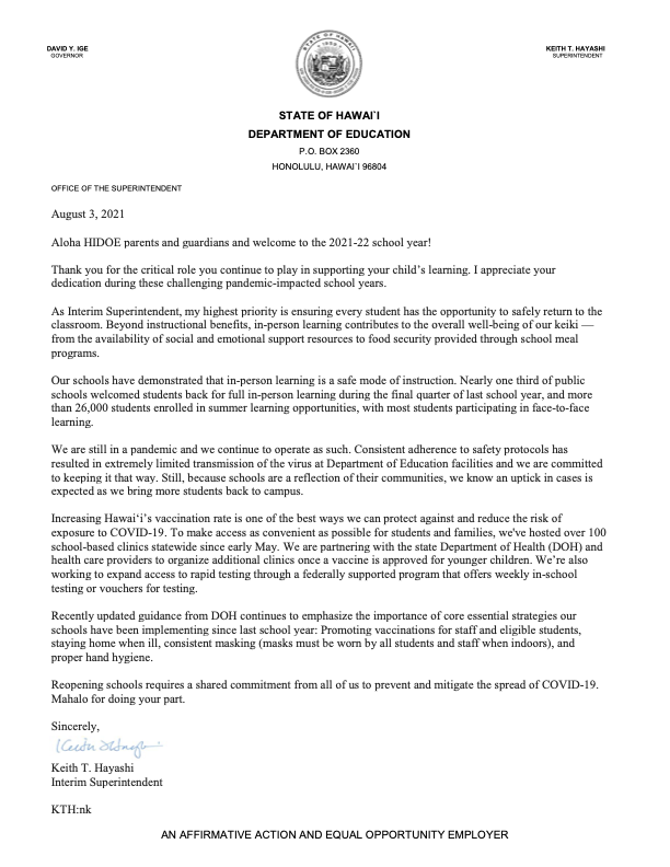 Parent Letter from Interim Superintendent Keith Hayashi Thumbnail Image