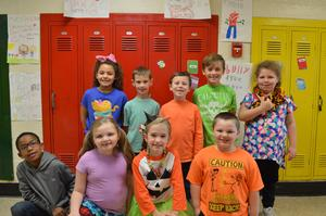 Students dressed for Wacky Tacky Day.