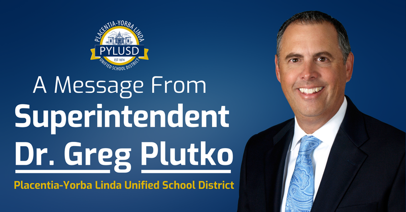 Message from Dr. Plutko graphic.