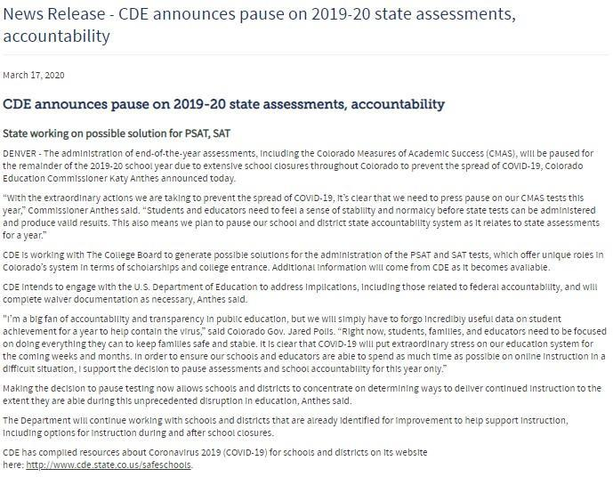 CDE announcement for 2019-20 assessments