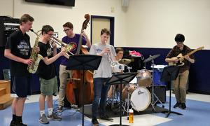 Photo of WHS Jazz Band performing during dinner at celebration of cultural diversity at WHS on May 2.