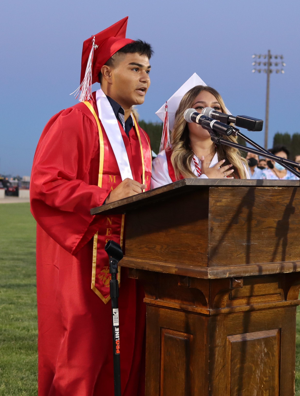Victor Grijalva and Juliana Barajas leading the Pledge of Allegiance