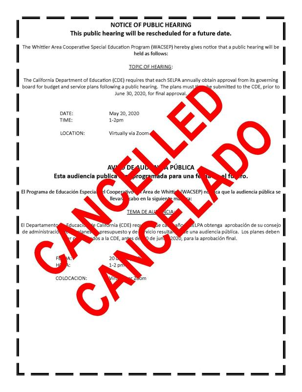 Cancelled Public Hearing Notice