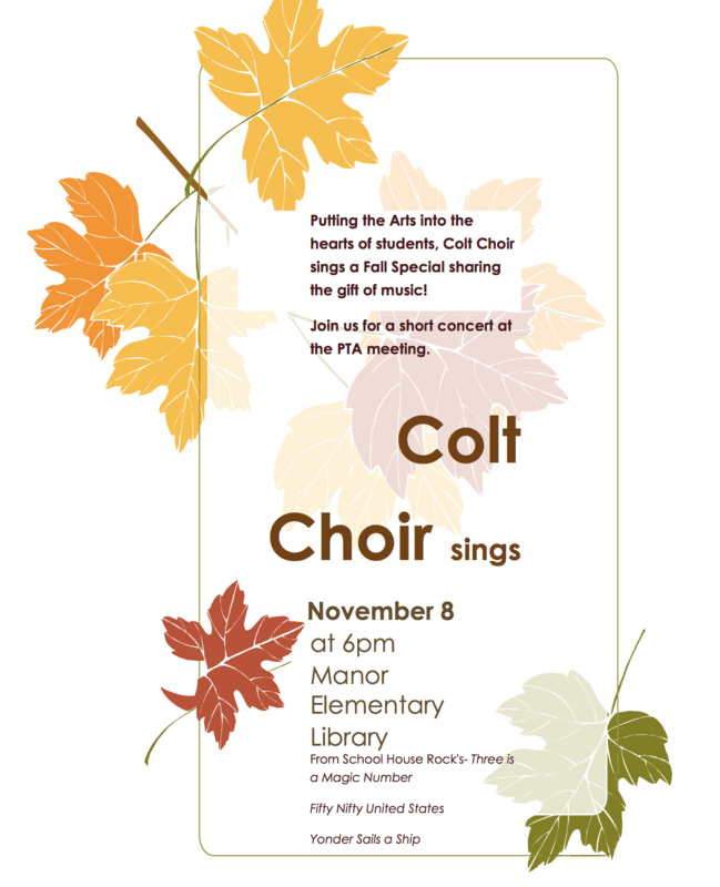 Flier advertising a choir performance on November 8 at 6 pm.