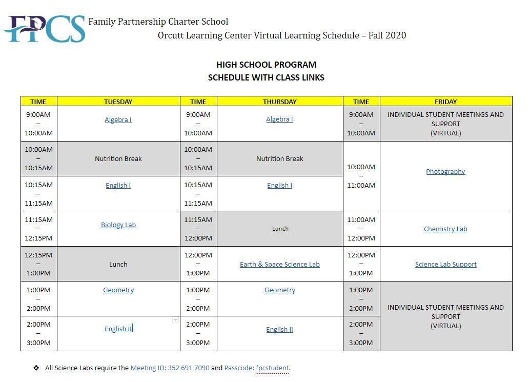 Orcutt High School Virtual Learning Schedule