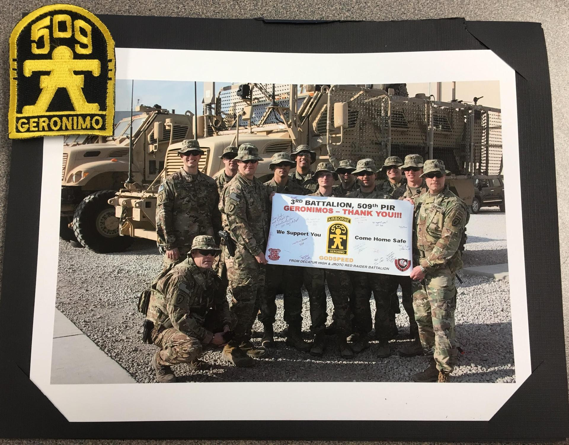 Geronimo Battalion Thank You for Care Packages