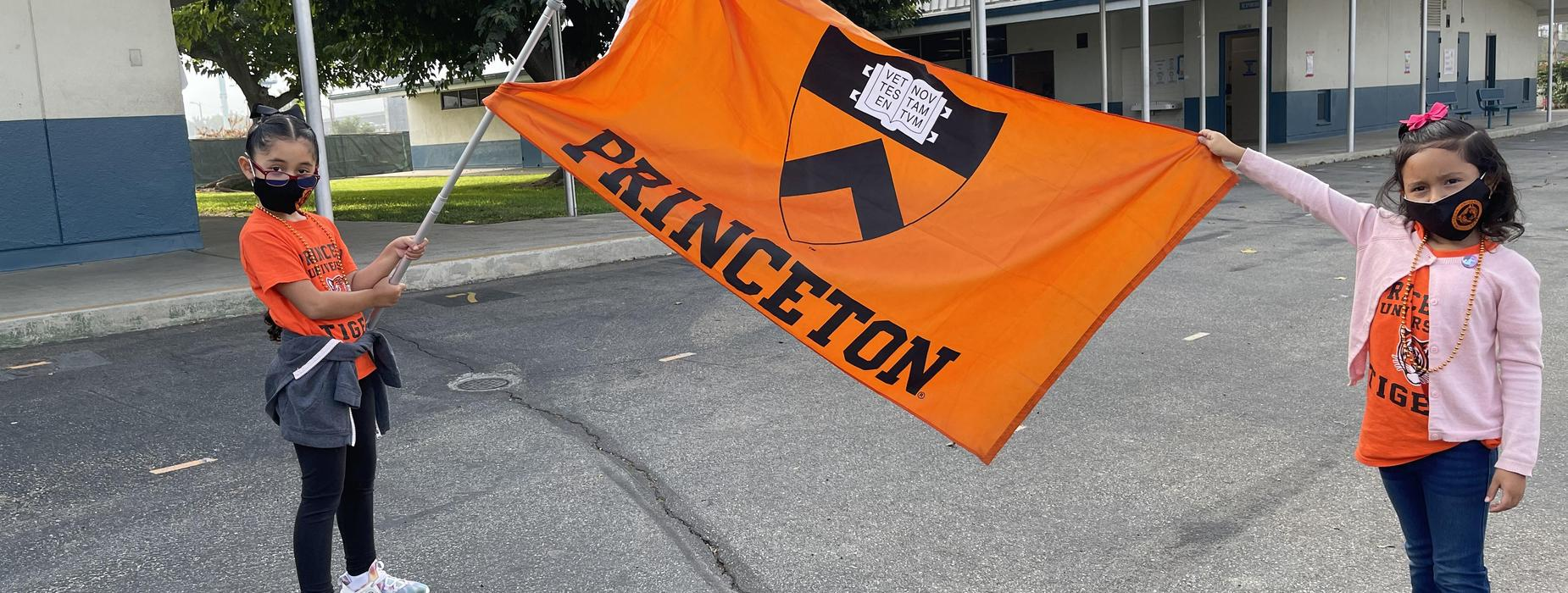 Princeton flag and students