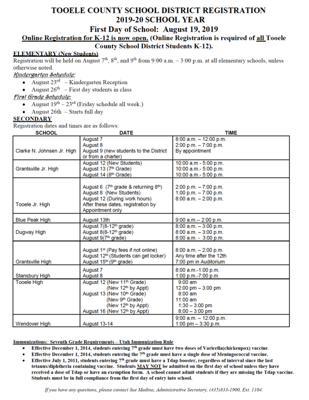 Image of the 2019 TCSD Registration Schedule