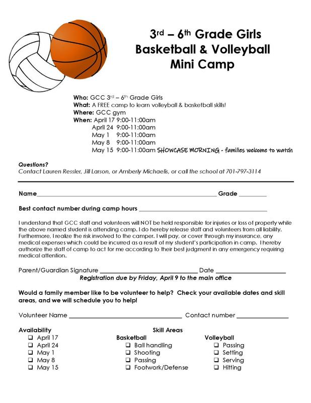 GCC is offering a 3rd-6th Girls Basketball & Volleyball Mini Camp Featured Photo