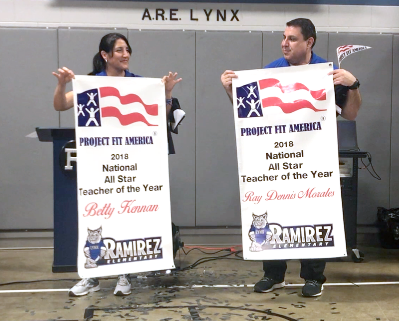 Edinburg CISD physical education teachers Betty Kennan and Ray Dennis Morales are announced as the winners of the 2018 National All Star Teacher of the Year Award during a surprise ceremony in the gymnasium at Ramirez Elementary School.