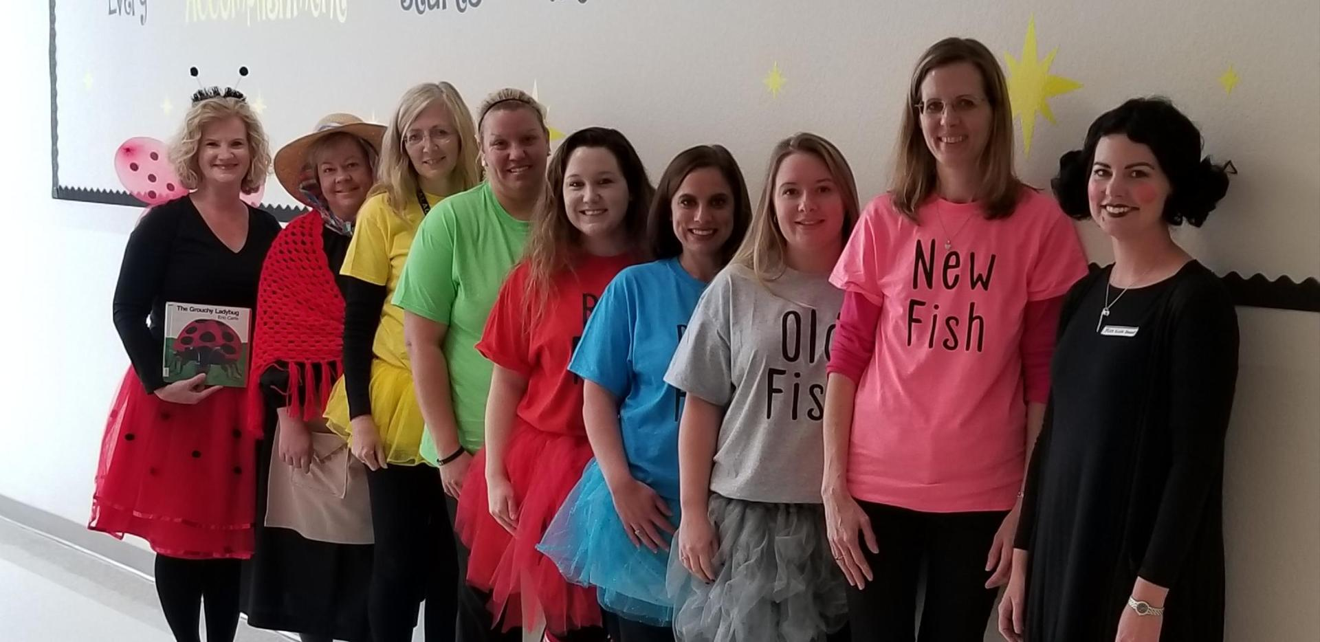 MFES teachers dressed up as favorite book characters.