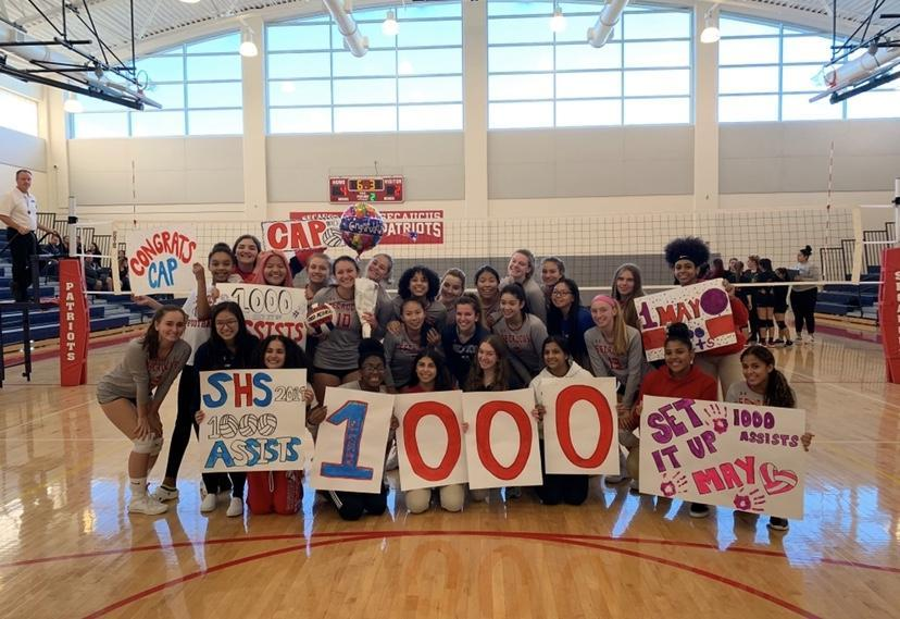 Senior setter Mayelin Martinez becomes the second player in Secaucus Volleyball history to record 1,000 career assists.