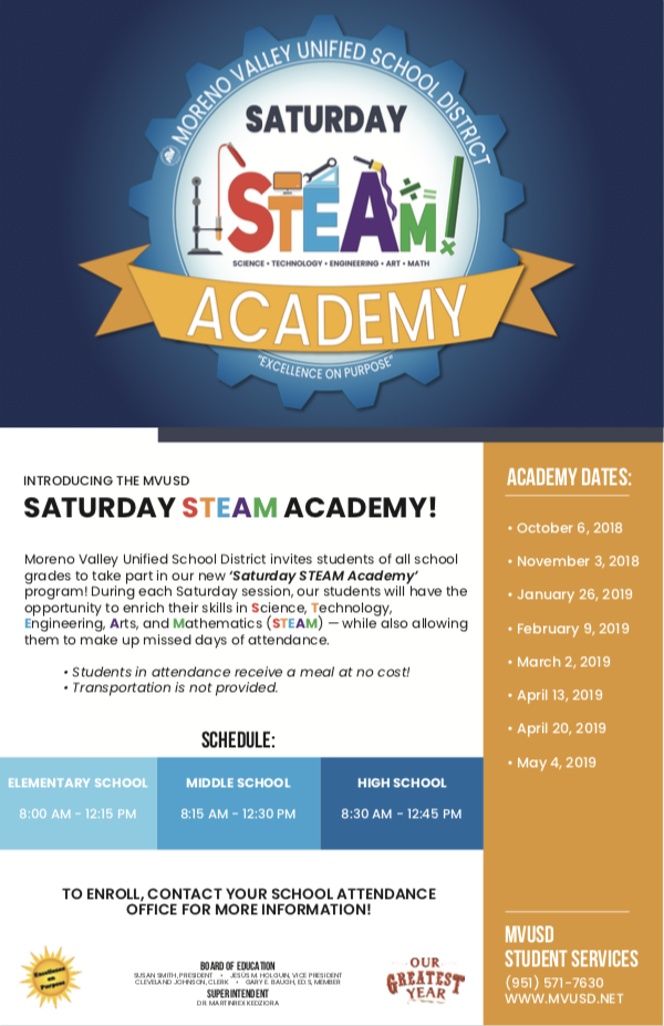 MVUSD Saturday STEAM Academy Flyer
