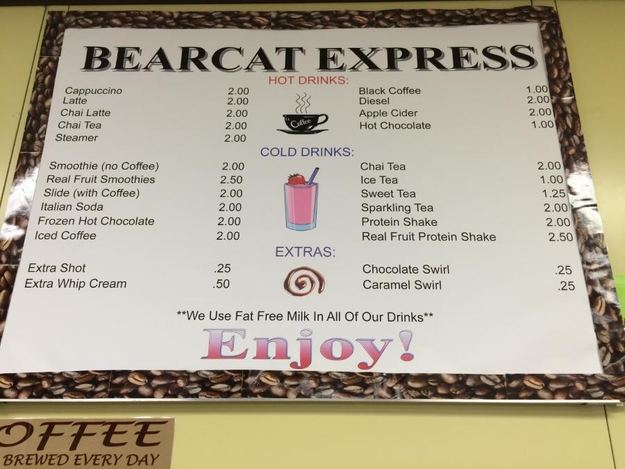 Bearcat Express menu