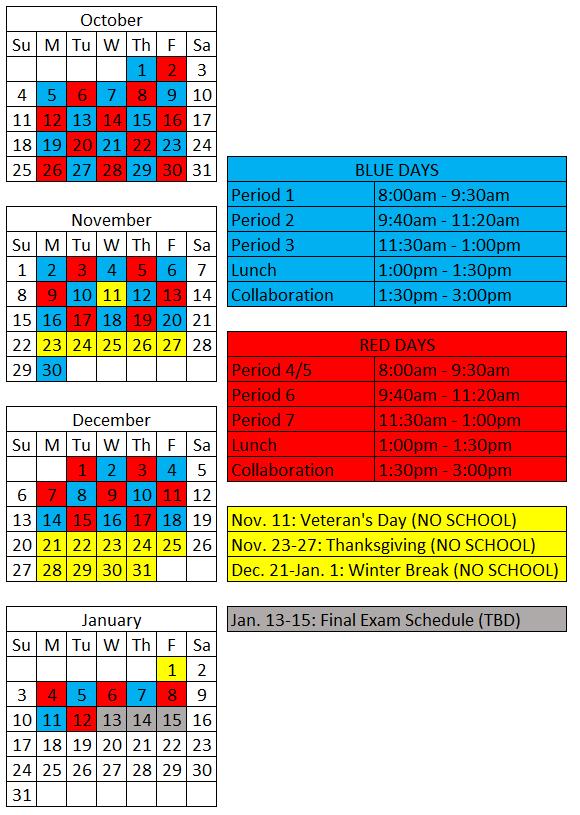 Red/Blue Class Schedule
