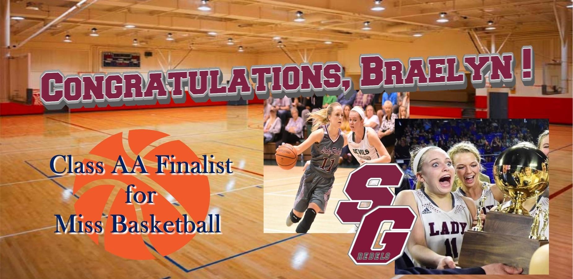 Braelyn Finalist for Class AA Miss Basketball