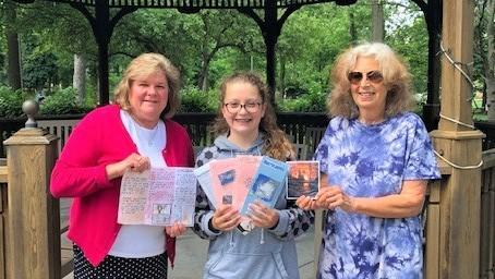 Pictured (L-R) are Westfield Senior Citizens Housing Executive Director Liz Fennik, Madeline Cortes, and Westfield Senior Citizens Housing Activities Director Randi Kass as they hold flyers, brochures and educational material about natural hazards.
