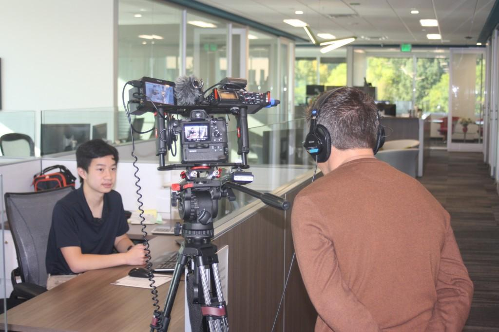 DCSD shoots a segment on our Career Discovery Program. Here, Aldrin Feliciano is working as an apprentice at EKS&H.