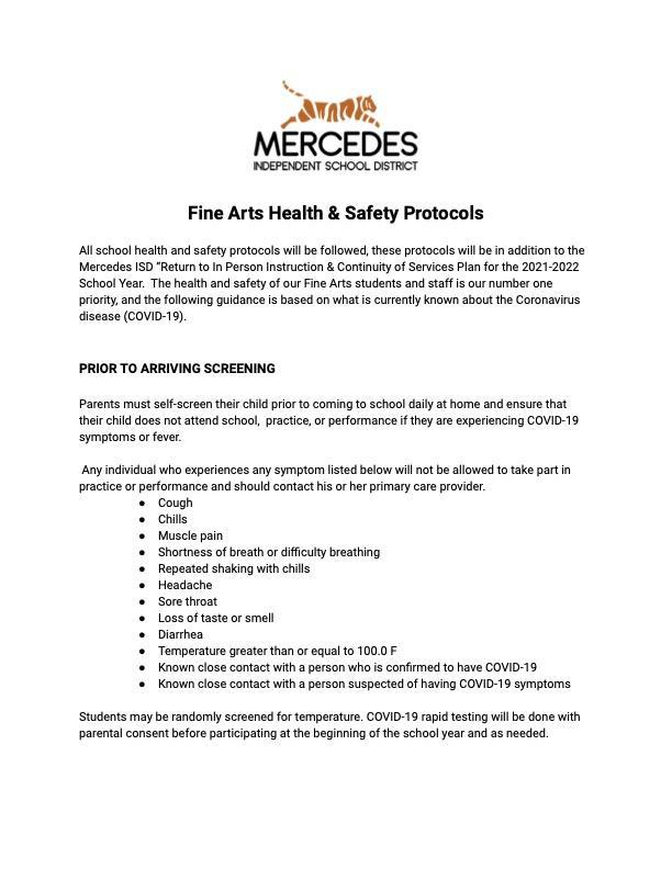 Mercedes Fine Arts Health & Safety Protocols Featured Photo