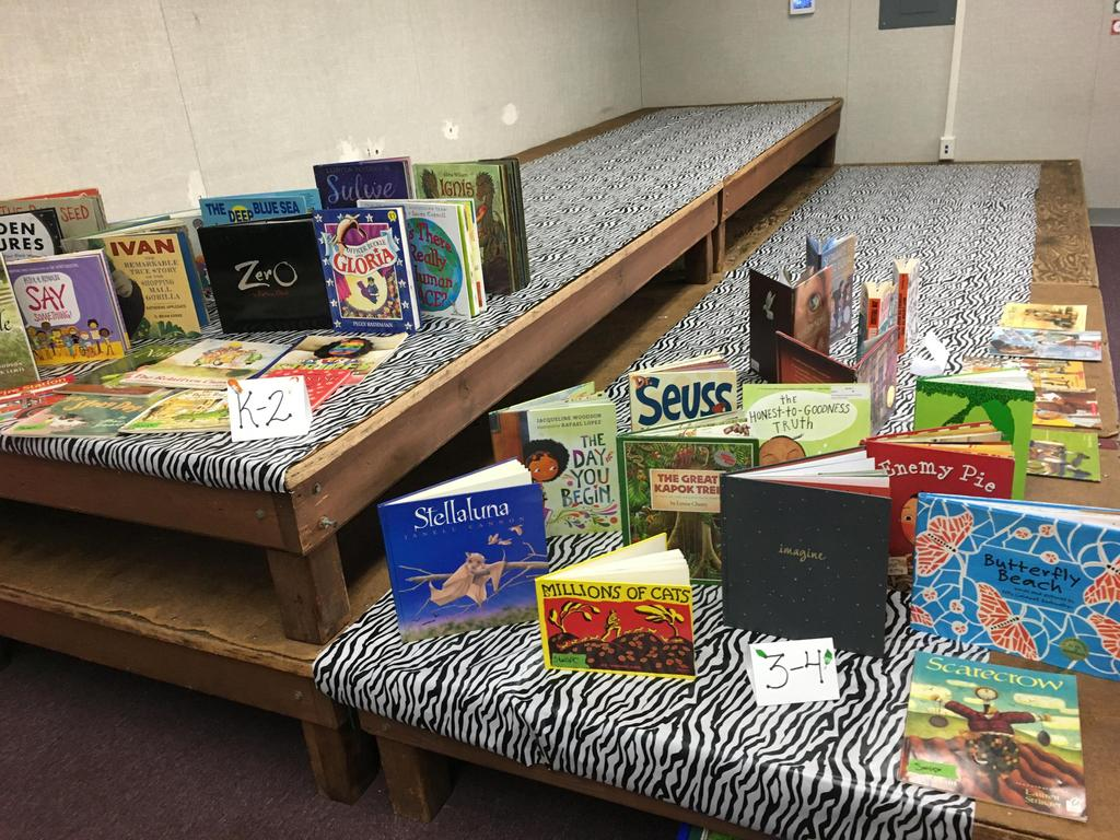 books set up for World Read Aloud Day