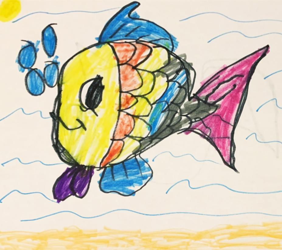 A kindergartener's amazing drawing of a smiling fish