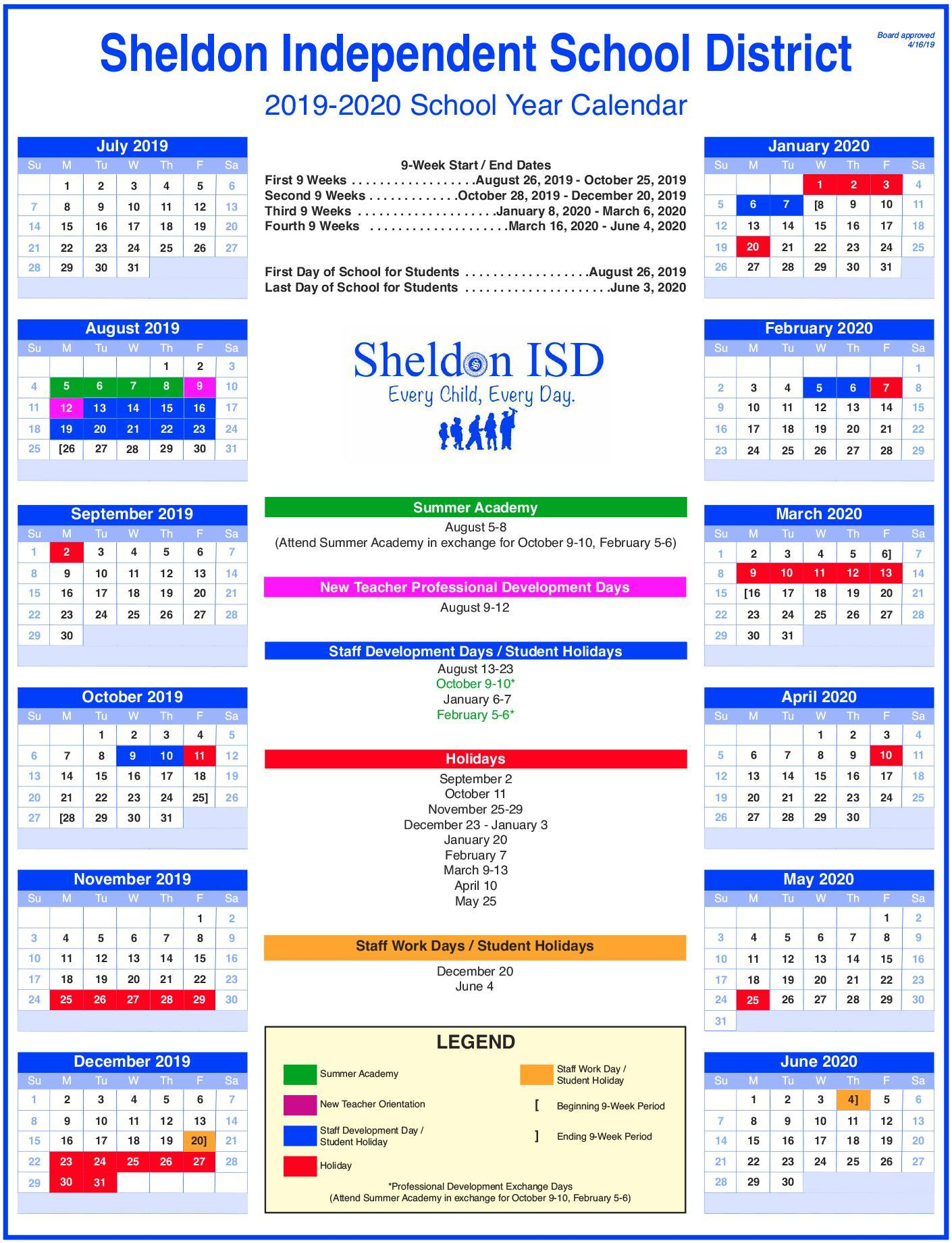 Calendario Estate 2020.Sheldon Isd