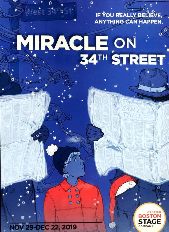 Animated Miracle on 34th Street poster, featuring a youngster looking to the starry sky, and two men sitting down with their heads hidden behind newspapers