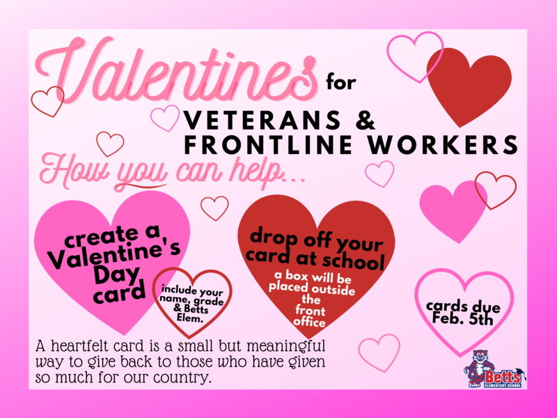 Image of Valentines for Veterans & Frontline Workers flyer
