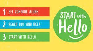 Start with Hello Week poster in Red Blue & Green